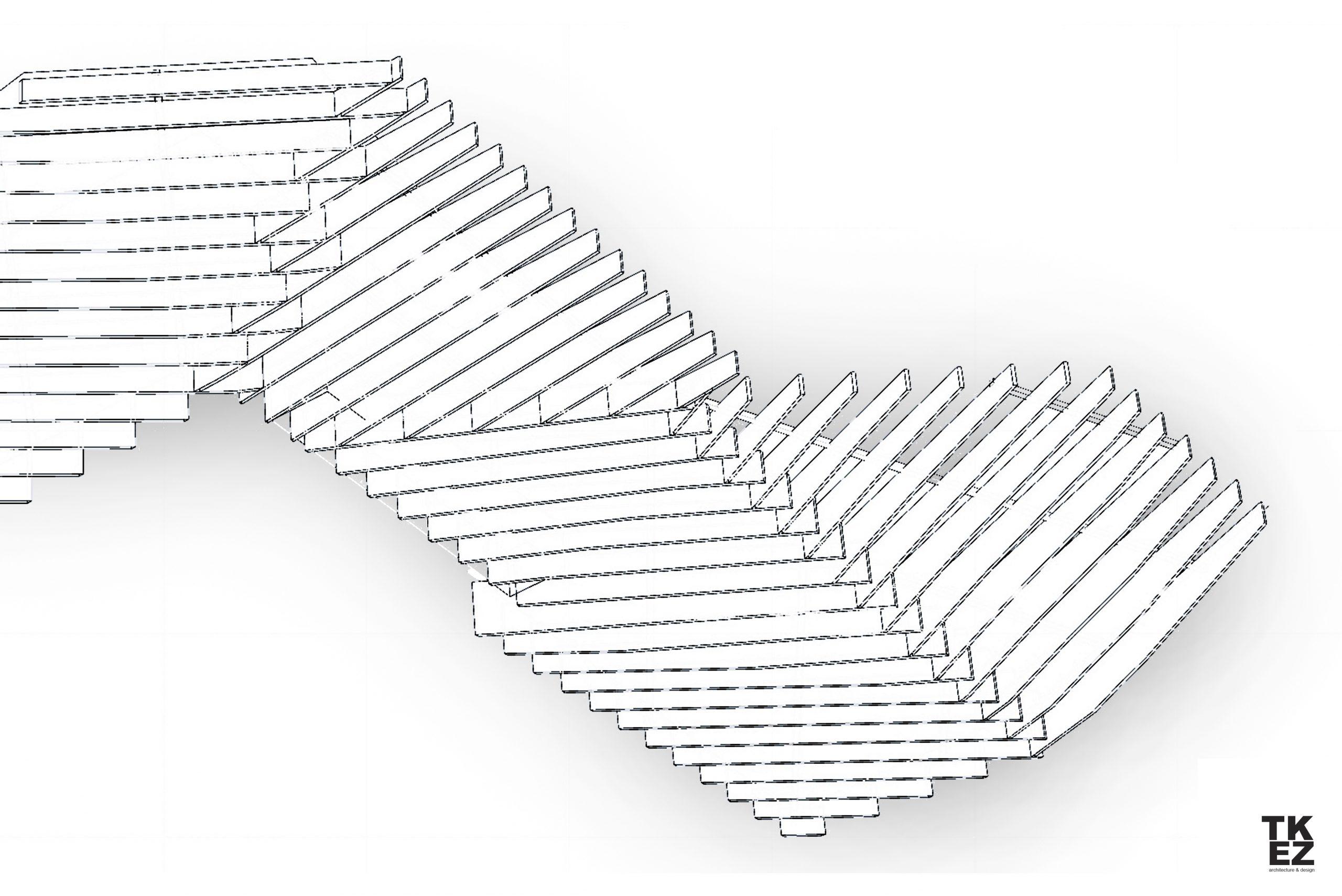 Inneneinrichtung Café Wagners München TKEZ Architekturbüro Modell Deckensystem
