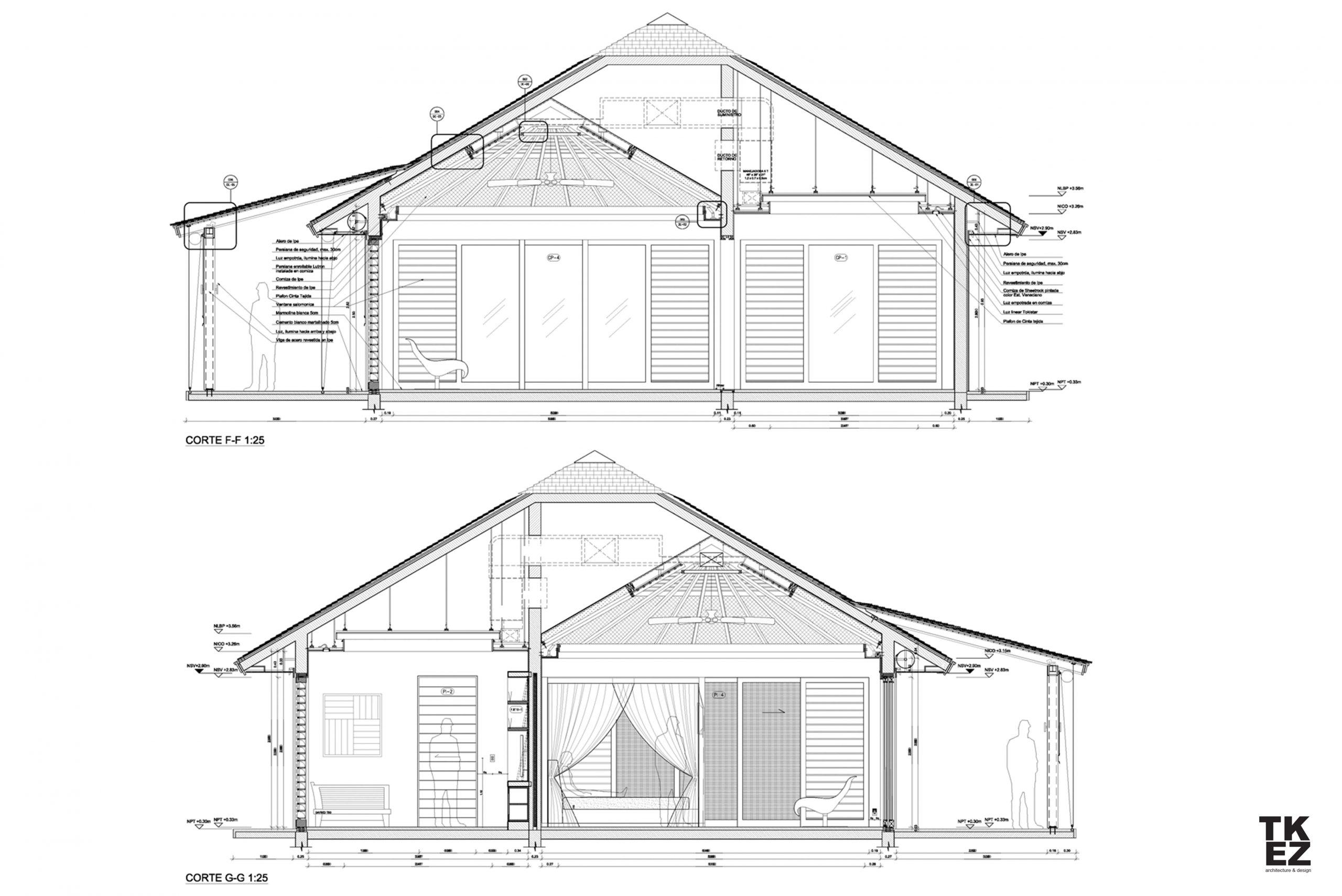 Exklusive Wohnresidenz Architekturbüro TKEZ Architekten Zeichnung Querschnitt