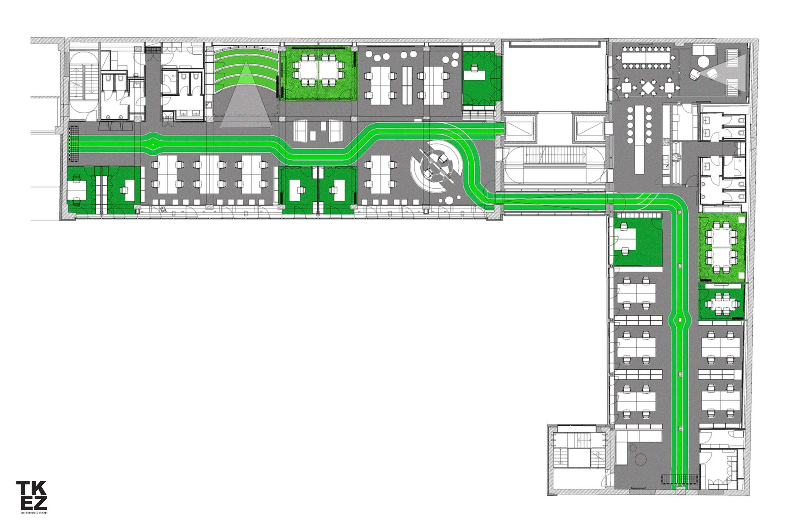 Startup Onefootball Office Design TKEZ Architekten Grundriss