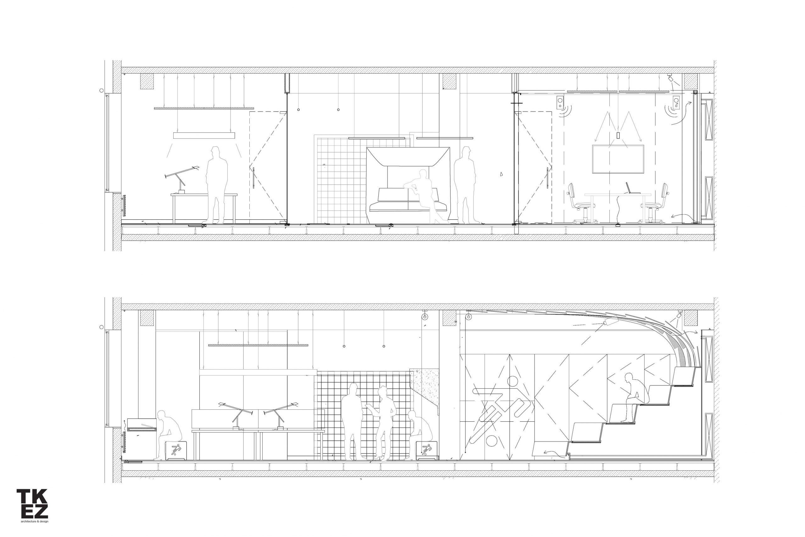 Startup Onefootball Office Design TKEZ Architekten Seitenansicht Planung