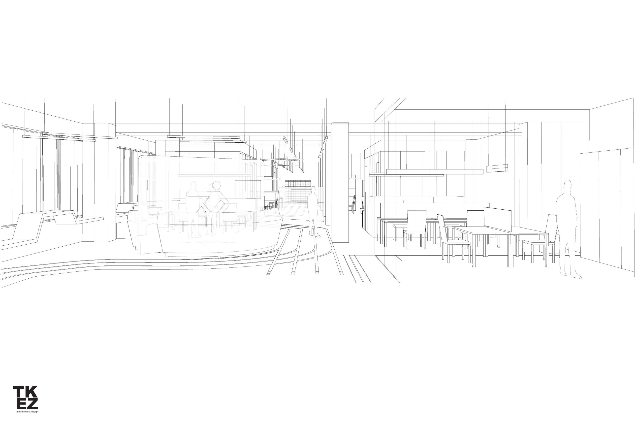 Startup Onefootball Office Design TKEZ Architekten Zeichnung 3D